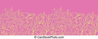 rose, or, modèle, seamless, florals, fond, horizontal, frontière