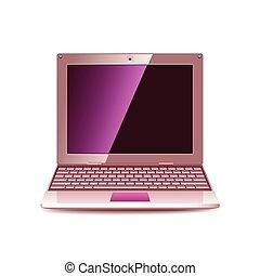 rose, ordinateur portable, vecteur, isolé, blanc
