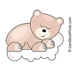 rose, ours, dormir, joli, petit, nuage