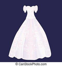 rose, pelucheux, robe, mariage