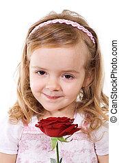 rose, petite fille, heureux