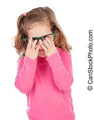 rose, petite fille, lunettes