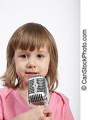 rose, peu, closeup, girl, microphone.