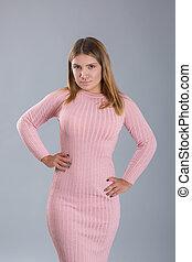 rose, peu, femme, non-standard, figure, habillé, tricoté, dress., croissance, bas, portrait, modèle, ou