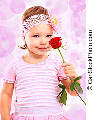 rose, peu, gens, rose, concept., girl, heureux, bonheur, vêtements