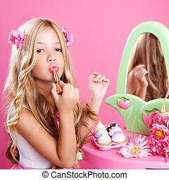 rose, peu, mode, rouge lèvres, poupée, maquillage, girl, enfants, vanité
