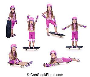 rose, peu, skateboard, girl