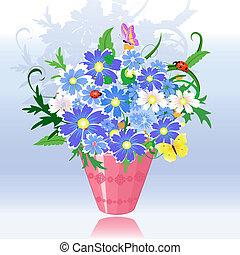 rose, pot, fleurs