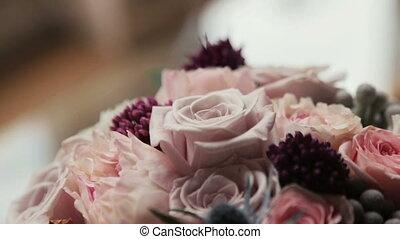 rose, pourpre, haut, bouquet, roses, mariage, fin