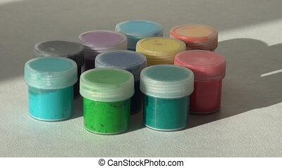 rose, prend, met, homewo, main, gouache, paint., acrylique, blanc