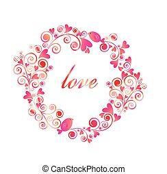rose, rigolote, anf, cadre, salutation, cœurs, peu, oiseaux