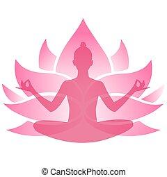 rose, silhouette, illustration., séance, lotus., vecteur, girl, emblem., transparent