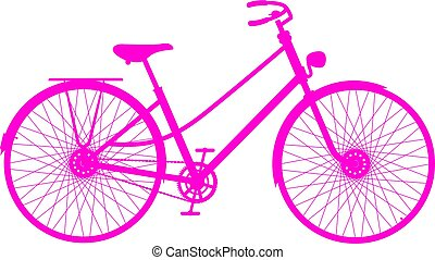 rose, silhouette, vélo, retro