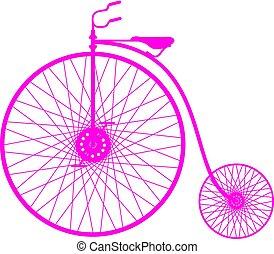 rose, silhouette, vélo, vendange