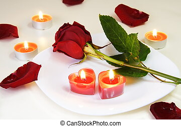 rose, table, romantique, attrayant, bougies