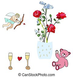 rose, teddy, cupidon, ours, champagne., roses