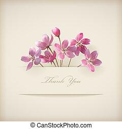 rose, 'thank, you', printemps, vecteur, floral, fleurs, carte