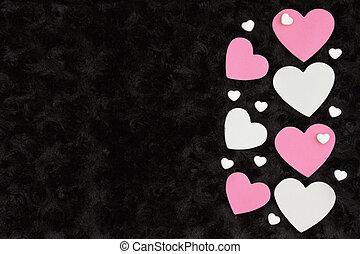 rose, tissu, rose, bonbon, noir, textured, cœurs, blanc, peluche