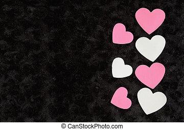 rose, tissu, rose, noir, textured, cœurs, blanc, peluche