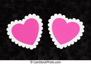 rose, tissu, rose, vide, deux, noir, textured, cœurs, blanc, peluche