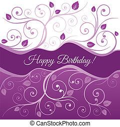 rose, tourbillons, carte anniversaire, heureux