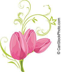 rose, tulipes, brin, trois