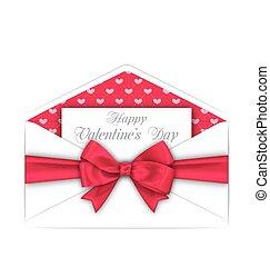rose, valentines, enveloppe, arc, carte, jour, ruban, célébration