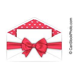 rose, valentines, enveloppe, arc, carte, propre, jour, ruban