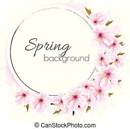 rose, vector., printemps, flowers., fond, fleurir