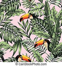 rose, vert, toucan, jungle, fond