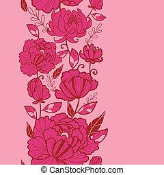 rose, vertical, modèle, feuilles, seamless, fleurs, frontière