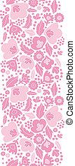 rose, vertical, modèle, seamless, silhouettes, fond, floral, doux