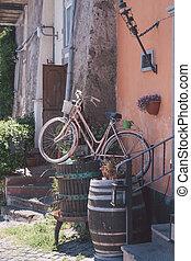 rose, vieux, rues, vélo, rome