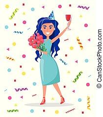 roses, bouquet, verre, anniversaire, tenue, girl