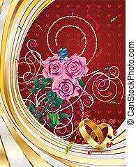 roses, carte, mariage
