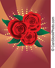 roses, carte, rouges