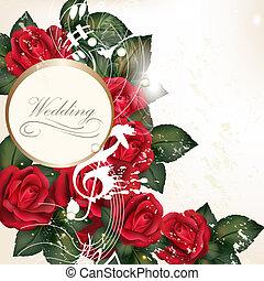 roses, conception, arrière-plan rouge, mariage