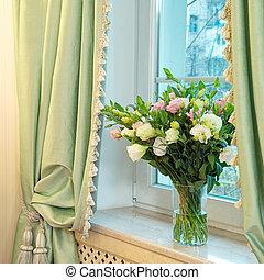 roses, fenêtre, vase