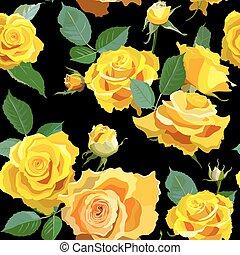roses., fond, seamless, floral, jaune