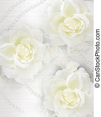 roses, mariage, fond, invitation