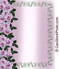 roses, mariage, lavande, invitation