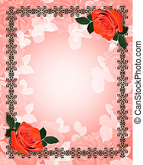 roses, mariage, rouges, invitation