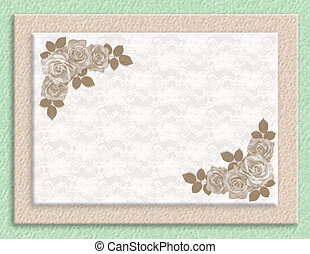 roses, mariage, sépia, invitation