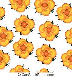 roses, modèle, seamless, jaune, arrière-plan.