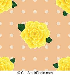 roses, provence, seamless, jaune, modèle
