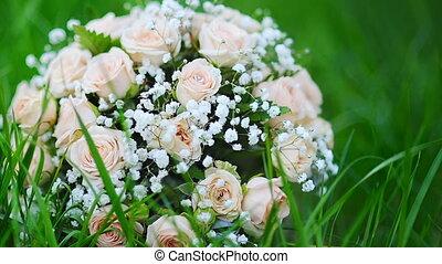 roses roses, bouquet, parc, mariée, herbe, mensonges