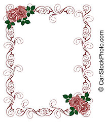 roses rouges, invitation, mariage