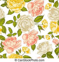 roses, seamless, arrière-plan.