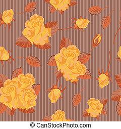 roses, seamless, jaune