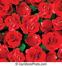 roses, seamless, rouges, modèle